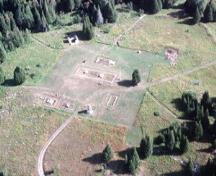 Aerial view of the remains at Fort St. Joseph, 2001.; Parks Canada Agency / Agence Parcs Canada, G. Vandervlugt, 2001.