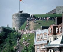 View of the Fortifications of Québec National Historic Site of Canada, showing part of the citadel on Cap Diamant, 1984.; Parks Canada Agency / Agence Parcs Canada, P. St. Jacques, 1984.