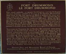 View of the Historic Sites and Monuments Board of Canada plaque commemorating Fort Drummond National Historic Site of Canada, 1989.; Parks Canada Agency/Agence parcs Canada, 1989.
