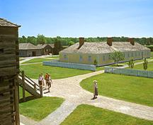 General view of some of the original buildings of Fort George National Historic Site of Canada demonstrating the spatial inter-relationships between the remains of original facilities inside the palisade, 1995.; Parks Canada Agency / Agence Parcs Canada, B. Morin, 1995.