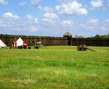 General view of the Fort Battleford National Historic Site of Canada walls showing one of the viewscapes of the site, 2002.; Parks Canada Agency / Agence Parcs Canada, B. Muir, 2002.