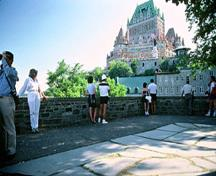 General view of Montmorency Park showing the retaining wall emphasizing its association to its past as part of the military infrastructure of the city, 1984; Parks Canada Agency / Agence Parcs Canada, P. St. Jacques, 1984.