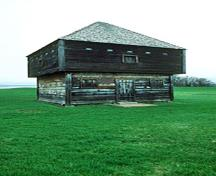 General view of Fort Edward showing its articulation as a defensive structure with sparse door and window openings and plentiful gun slits, its surviving original materials and craftsmanship, 1991.; Parks Canada Agency / Agence Parcs Canada, J. P. Jérôme, 1991.