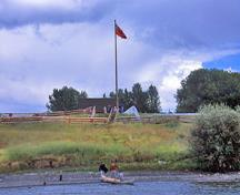 Panoramic view of Fort St. James from across the river showing the viewscapes, 2003.; Parks Canada Agency / Agence Parcs Canada D. Houston, 2003.