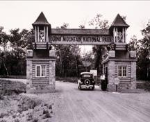 Historic Image of the East Gate of the Riding Mountain Park East Gate Registration Complex, 1934.; Parks Canada Agency / Agence Parcs Canada, W. Oliver, 1934