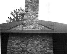 Detail view of the Pavilion's chimney, 1984.; Parks Canada Agency/Agence Parcs Canada, R. Sutart, 1984.