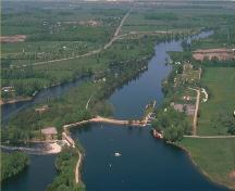 Aerial photo of the Rideau Canal National Historic Site of Canada locks.; Parks Canada Agency / Agence Parcs Canada