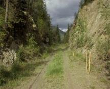 View of the Old Grand Trunk Pacific Rail Garde in the Yellowhead Pass, showing the vestiges of use by railway workers, 2005.; Jack Porter, Parks Canada Agency / Agence Parcs Canada, 2005.