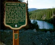 View of a plaque commemorating Yellowhead Pass, 1968.; Parks Canada Agency/Agence Parcs Canada, R.D. Muir, 1968.