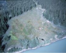 Aerial view of the Jasper House National Historic Site of Canada.; Parks Canada Agency/Agence Parcs Canada, n.d.