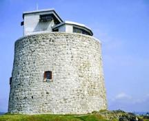 General view of the Carleton Martello Tower showing the shuttered windows, 1988.; Parks Canada Agency / Agence Parcs Canada, 1988