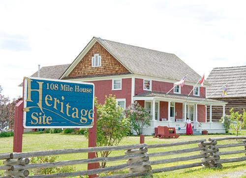 108 Mile House Heritage Site with sign