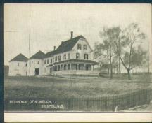 Former Welch House, later known as the McIntosh House, formerly set at back of what is now Riverside Park. ; From postcard collection of Fred Phillips, Woodstock, N.B.