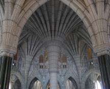 Interior view of the Centre Block showing the Gothic ornament of the building, 2010.; Parks Canada Agency / Agence Parcs Canada, C. Beaulieu, 2010