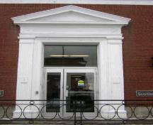 This photograph illustrates the entrance of the bank building, 2009; Town of St. Andrews