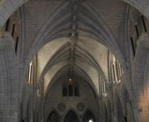Interior view of Centre Block showing the rib and fan vaulting and decorative motifs, 2010.; Parks Canada / Parcs Canada, Catherine Beaulieu 2010.