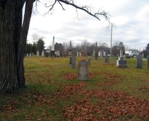 This image shows the old part of the cemetery; Village of Gagetown