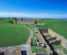 General view of Fort Beauséjour - Fort Cumberland, showing the historic location, layout, form and mass, and materials of the remains.; Parks Canada Agency / Agence Parcs Canada.