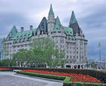 General view of Château Laurier showing its picturesque silhouette, created by a broad range of medieval detail.; Parks Canada Agency / Agence Parcs Canada.
