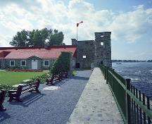 General view of Fort Chambly showing its location on the banks of the Richelieu River, 1965.; Parks Canada Agency / Agence Parcs Canada.