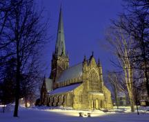 General view of Christ Church Cathedral, showing its integrated Gothic Revival style.; Parks Canada Agency / Agence Parcs Canada.