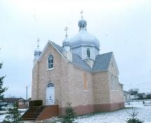 Exterior frontal view of the Ukrainian Greek Catholic Church of St. George, 1985.; Government of Saskatchewan, G. Pugh, 1985.