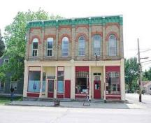 A view of the Odd Fellows Hall's façade.; Photographs taken by Dana Johnson, May 31st, 2010