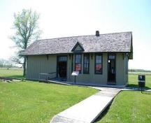 A front view of the Oil Springs Railway Station; Photograph taken by Dana Johnson, May 4th, 2010, with permission of the Oil Museum of Canada