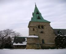 General view of Chapel of St. James-the-Less, showing its materials, including Georgetown grey sandstone, white brick, Ohio stone trim, slate roofing, and wooden porch, 2007.; Chapel of St. James-the-Less, Michael Kooiman, February 2007.