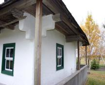 Wall detail, from the north, of Paulencu House, Inglis area, 2006; Historic Resources Branch, Manitoba Culture, Heritage & Tourism, 2006
