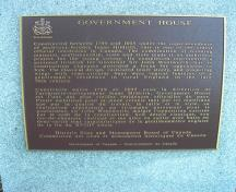 General view of the plaque for Government House, showing its use as an official residence for the lieutenant-governor of Nova Scotia, 2010.; Government House, Jimmy Emerson, 2010.