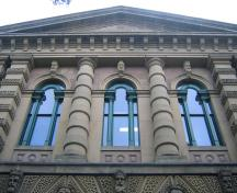 General view of Halifax Court House, showing its Classical Revival architectural style with Italianate detailing, evident in its imposing façade with its symmetrical composition, 2004.; Halifax Court House, Ctd 2005, 2004.