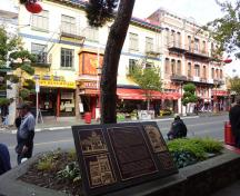 General view of Victoria's Chinatown, showing the typically Italianate-inspired, rectilinear massing of two to three-storey, flat-roofed buildings, 2011.; Parks Canada Agency / Agence Parcs Canada, Andrew Waldron, 2011.