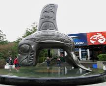 Detail view of Stanley Park, showing the bronze sculpture of a killer whale by Bill Reid at the main entrance of the Vancouver Aquarium, 2008.; Vancouver Aquarium, Bronze Sculpture, Adrian F1, 2008.