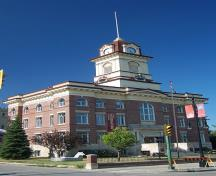 General view of St. Boniface City Hall, showing its Classical-revival style with formally symmetrical façade, 2005.; St. Boniface City Hall, Lil Zebra, 2005.