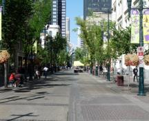 General view of Stephen Avenue showing the visual coherence of the street, created by facades set flush to the sidewalk, 2009.; Stephen Avenue, Alex Abboud, July 2009.