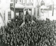 A labour demonstration at the Finnish Labour Temple in the 1930s; Lakehead University Archives, 1930's