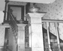 Black and white photo of the interior staircase, O'Reilly House, Placentia.  Photo taken 1999.; HFNL/ 2006