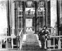 Hamilton Waterworks. 1863 interior view of the engine house. (The Canadian Illustrated News (Hamilton), 26 September 1863); The Canadian Illustrated News (Hamilton), 1863