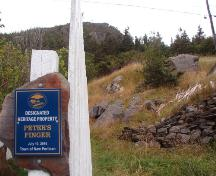 View of Peter's Finger from Vitter's Cove Road, New Perlican, NL. Photo taken 2011. ; © HFNL/Andrea O'Brien 2011