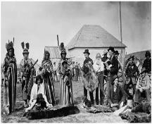 Misto-ha-a-Musqua (Big Bear), pictured in the centre, trading at Fort Pitt; Library and Archives Canada / Bibliothèque et archives du Canada