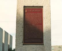 Photo of plaque commemorating Fort Qu'Appelle NHSC; Parks Canada Agency / Agence Parcs Canada, n.d.