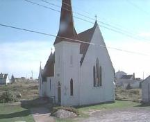 Front elevagtion, St. John's Anglican Church, Peggy's Cove, 2000.; HRM Planning and Development Services, Heritage Property Program, 2000.