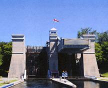 View (lower level) of the Peterborough Lift Lock National Historic Site of Canada, 2012.; Parks Canada Agency / Agence Parcs Canada.