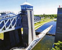 Detail view of the Peterborough Lift Lock National Historic Site of Canada, showing a tower and railings, 2012.; Parks Canada Agency / Agence Parcs Canada, 2012.
