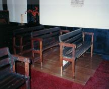 Interior view of Little Dutch (Deutsch) Church, showing its simple wooden furnishings, 1996.; Anne West, 1996.