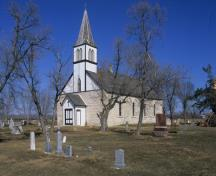 Primary elevations, from the southwest, of St. Peter, Dynevor Old Stone Church, East Selkirk area, 2006; Historic Resouces Branch, Manitoba Culture, Heritage & Tourism, 2006