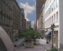 Granville Mall Streetscape, view from the Cogswell Interchange Ramp towards Duke Street,  Halifax, Nova Scotia, 2000.; HRM Planning and Development Services, Heritage Property Program, 2000