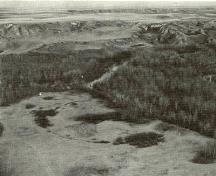 Aerial view of the Earthlodge Village prior to the 1960 excavations.; HSMBC, Agenda Paper 1972-5, p.5.5