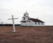 Primary elevations, from the northeast, of Holy Cross Greek Catholic Church, Inwood area, 2007; Historic Resources Branch, Manitoba Culture, Heritage, Tourism and Sport, 2007
